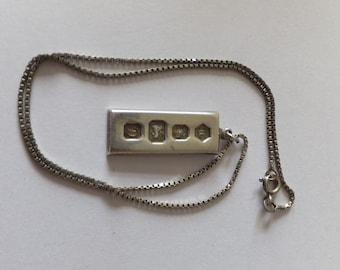 Vintage silver ingot on silver chain, 13.32g
