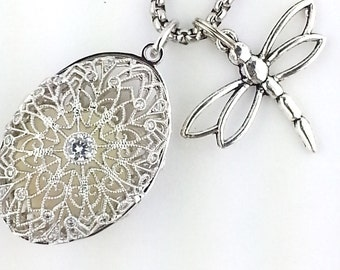 Essential Oil Diffuser Necklace in Sterling Silver Filigree ,Dragonfly Aromatherapy Necklace
