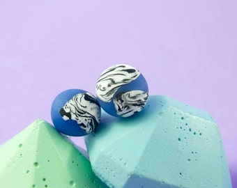Polymer clay stud earrings - cornflower blue, black and white marble, silver plated findings/ round earrings/ dot earrings/ unique earrings