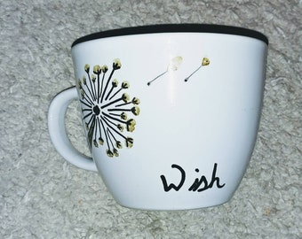 Wish custom mug dandelion gift calligraphy dream the secret white with gold heart free shipping