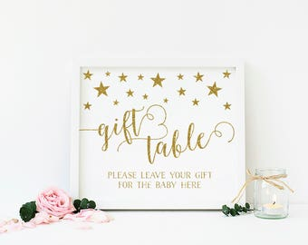Twinkle Little Star Gift Table Sign, Twinkle Baby Shower Gifts Sign, Gold Glitter Baby Shower Decorations, Gifts Sign, Printable - SG1