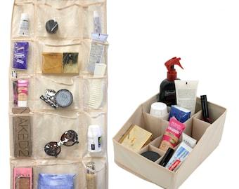 Set Over the Door Storage 15 Pocket and Vanity Organizer Beige