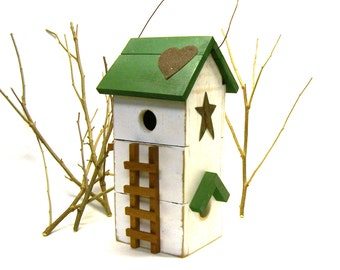 Rustic Tall Two Story Trellis Farmhouse Bird House Birdhouse
