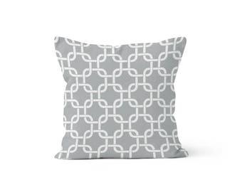 Grey Lattice Pillow Cover - Gotcha Storm Grey  - 18 x 18, 20 x 20 and More Sizes - Zipper Closure - sc1820