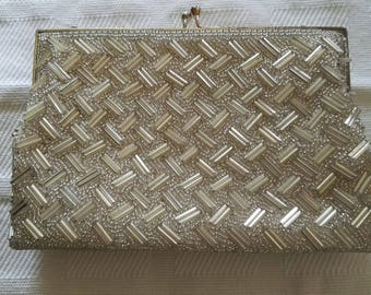 Silver Sequined and beaded evening bag