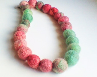 Felt Balls Necklace, Ecofriendly, Statement Necklace, Wool Felted Necklace, Mint Green, Blush Pink, Felt Collar