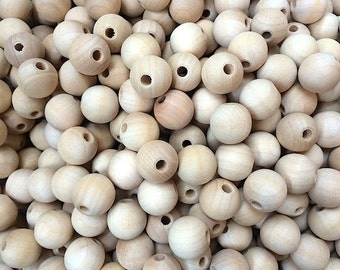 """25 Wooden Beads - 16MM (5/8"""") Wood Round Bead, 5/32"""" hole - Craft Supplies"""