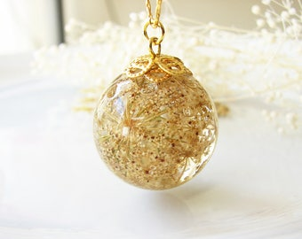 Pressed Flower Jewelry Resin Jewelry Resin Necklace Real Flower Jewelry Queen Anne's Lace Necklace