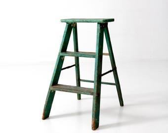 vintage wooden step ladder, green wood folding step stool