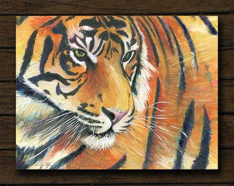 Eye of the Tiger mixed media artwork archival giclée print on cradled board with edges