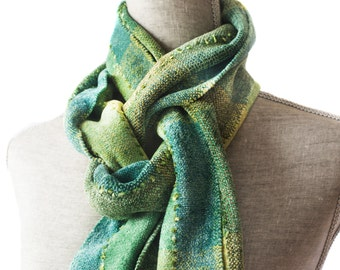 Green, Lime and Olive Chenille Scarf