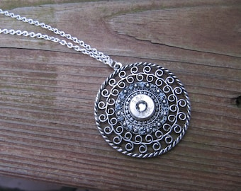 Bullet Necklace - Bullet Jewelry - Bullet Pendant Necklace with Grey Swarovski Crystal Accents- 38 Bullet Necklace - 2nd Amendment Jewelry