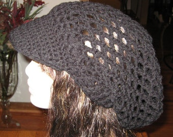 Billed Black Mesh Slouchy Beanie Snood Dread Tam Dread Hat