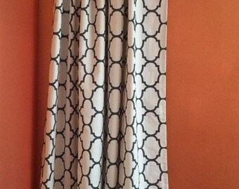 50% off Pair of Charcoal and White Quatrefoil Ring Top Style Drapes Lined - Ready to ship