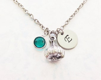 Garlic Necklace Garlic Bulb Garlic Clove 3D Silver Initial Jewelry Personalized Monogram Hand Stamped Disc Tag Spice Food Jewelry