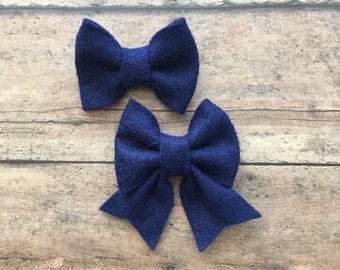 Navy Blue Felt Bow on Metal Clip, Hair Tie, or Elastic Headband; Buy 3 Get 1 Free! Small Felt Hair Bow, Navy Blue Hair Bow, Blue Felt Bow