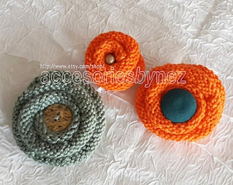 Knit Flower Pattern, Brooch Pin Pattern, Hair Pin Pattern, Tutorial Videos, Knitting Pattern, Knit Flower, Flower Brooch Pin,Flower hair pin