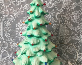 Vintage blow mold plastic electrified Christmas tree