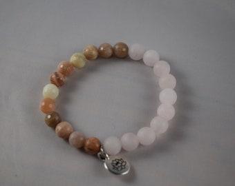Women's Bracelet with Sunstone, Rose Quartz and Lotus Charm