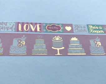 """Wedding Washi Tape 24"""" Sample Set Bobbins - Gold Foiled, Love, She's a Keeper, She Said Yes, Just Married, Love, Mr and Mrs, He's a Catch"""