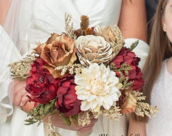 Maroon and ivory wedding bouquet, rustic bouquet, woodland wedding.