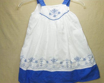 1990s Summer Dress, Sundress, Size 4T, Blue and White