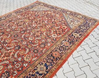 Vintage Handmade Mahal Persian Zigler Rug, All Over Design Oriental Wool Area Rug Carpet, Office and Home Decor Oushak Rug,  12.1x8.6 ft