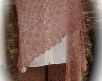 Rose Quartz Silk Lace Shawl