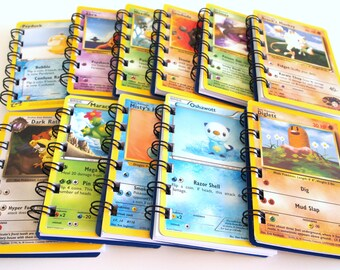 Upcycled 10 carnets - Pokemon Party Favors - faveur de Pokemon - Pokemon Birthday Party - jeu Pokemon