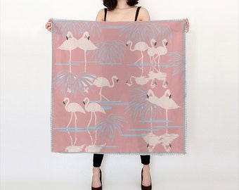 Flamingos Silk Scarf - square scarf- silk accessories - perfect gift for her
