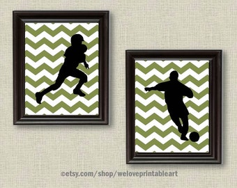 Football Wall Art, Soccer Gifts, Olive Green Chevron, Teen Boys Room Decor, Sports Wall Decor, Sports Posters, Teen Boy Gift, Sports Nursery