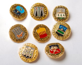Set of 8 badges, arms or Russian city,  Pins from USSR, Soviet Union