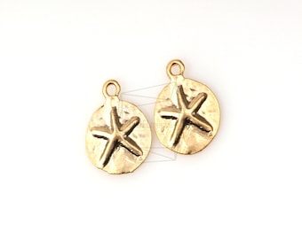 PDT-185-MG/5Pcs- Mini Starfish Fossil Pendant/ 9mm X 11mm/matte Gold Plated over Pewter