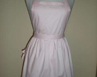 Candy striper apron pink and white stripes great for kitchen teas bridal showers cotton fabric. Australian handmade