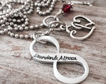 Infinity Lightweight Aluminum Couples Hand-Stamped Pendant Necklace