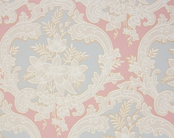 1940s Vintage Wallpaper by the Yard - Victorian Blue and Pink Damask