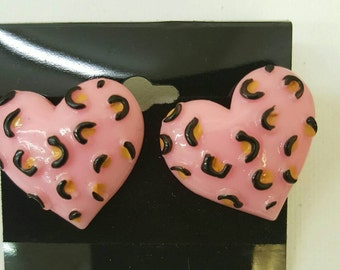 Beautiful Pink Heart Stud Earrings