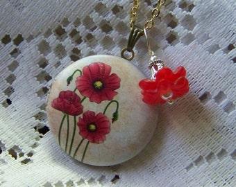 Poppy Locket - Large Red Poppies Locket Necklace, Three Poppies, Red Poppy Necklace, Red Poppy Pendant, Flower Nature Wearable  Art Pendant