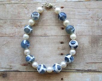 Agate , Freshwater Pearl Bracelet, Sterling Silver Findings, Gemstone