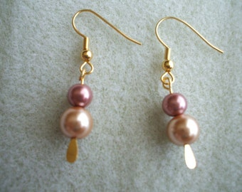 Pearl Paddle Earrings Mauve and Gold