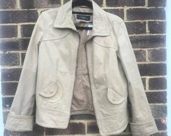 Vintage Max Mara Genuine Leather Beige Jacket, UK 16