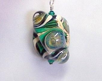 Emerald Green Lampwork Glass, Green Bead Pendant, Bubble Glass Pendant, Glass Necklace