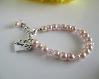Pink Flower Girl Bracelet, Flower Girl Jewelry, Pearl Bracelet, Flowergirl Gift, Ring Bearer Gift, Pink Flower Girl, Junior Bridesmaid