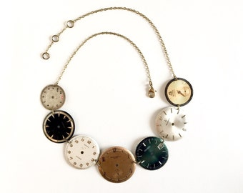 Necklace with Vintage dials from watches!