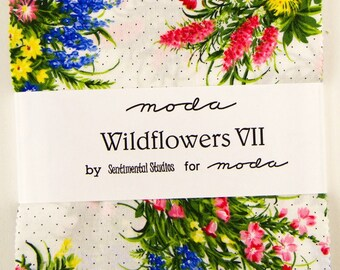 """Moda WILDFLOWERS VII Charm Pack 42 5"""" Quilt Fabric Squares 32970PP by Sentimental Studios"""