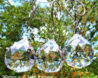 3 Crystal Balls, 30mm  Faceted Crystal Ball, Crystal Sun Catcher, Wedding Décor, Christmas Ornament, Crystal Gift  FC 110-3