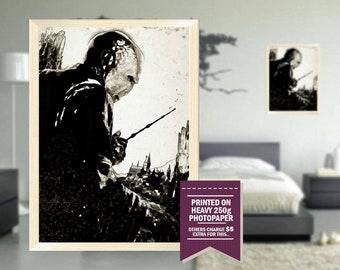 Lord Voldemort print, fanart, ink design, potter, lord voldemort poster, voldemort, GIFT, harry potter, deathly hallows, great gift ideas