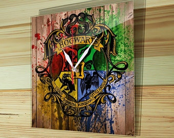 Glass clock, glass wall clock, wall clock,  large wall clock, unique wall clock, Hogwarts emblem, Harry Potter, Gryffindor logo, HP-001