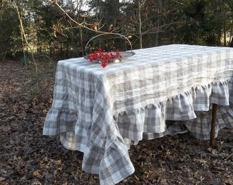 Custom Made Plaid Tablecloth Ruffled Linen Table Cloth Handmade   Wedding Decorations Table Decor French Country Decor Custom Sizes