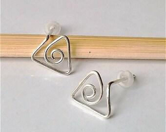 Geometric Stud Earrings, Sterling Silver Stud Earrings, Triangle Stud Earrings, Minimalist Earrings, Simple Stud Earrings.